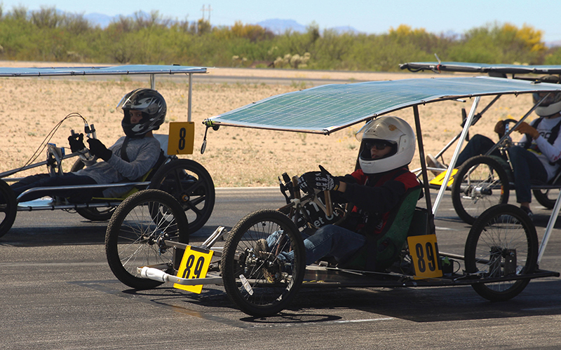 Students+brought+their+solar-powered+go-karts+to+a+track+in+Tucson+to+do+practce+runs+and+safety+checks+to+prepare+for+the+race+in+late+April.++%28Photo+by+Erica+Apodaca%2FCronkite+News%29