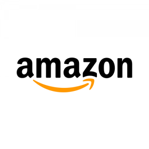 "The Amazon logo. It has an orange yellow arrow pointing right at the bottom of of ""amazon"" in bold black letters,"