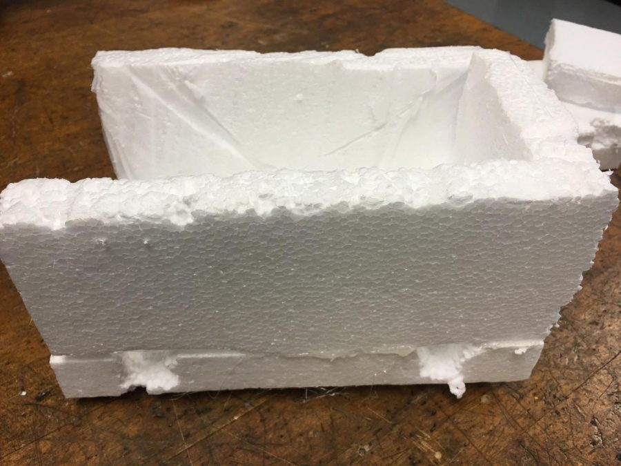 Frame of a vehicle made from white foam.