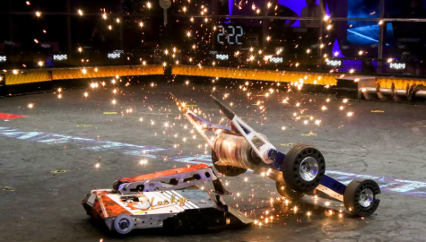 An photo of a BattleBots fight. Photo Source: Labman Automation