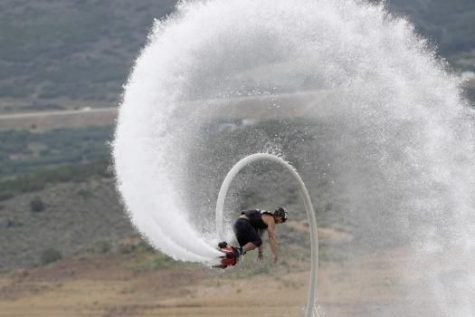 Jetpack over water.