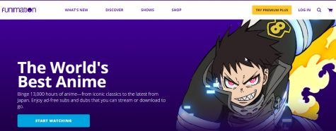 screenshot of funimation.com front page