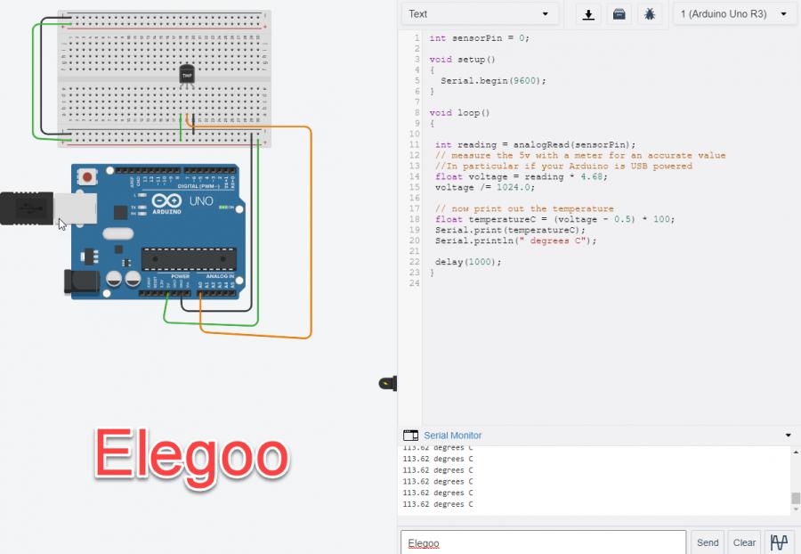 Elegoo Arduino Uno R3-Tempature Sensor Project - Engineering Notebook