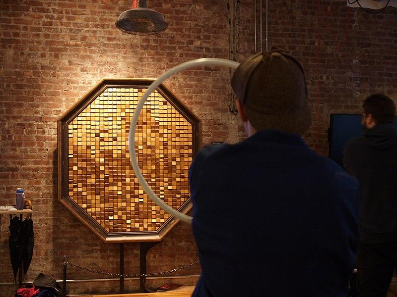 Octagonal Wooden Mirror By Daniel Rozin