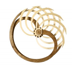 Wooden kinetic sculpture in circular form with rounded wooden blades