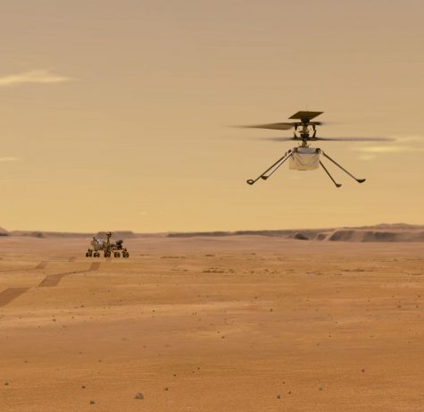 Perseverance rover and Ingenuity helicopter.  Image Source:  NASA