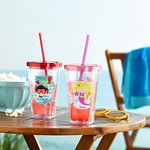 """""""tumbler cups with strawas personalized for kids popcorn and sunglasses on a wood table at the beach"""" by PersonalCreations.com is licensed under CC BY 2.0"""
